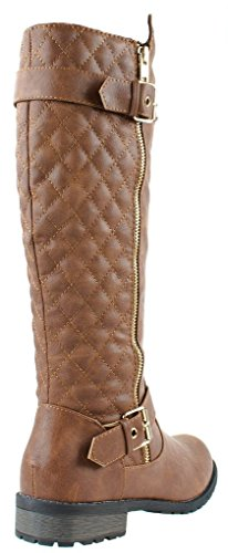 Quilted Tan Link 21 15 Mango Accent Boots Zipper Women's Forever Riding nqzRWxqIy