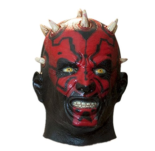 X-Merry Scary Creepy Halloween Devil Latex Costume Mask - Darth Maul -