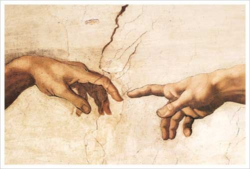 Creazione di Adamo (Creation of Adam), Hands Detail Art Print Poster by Michelangelo di (Adamo Poster)