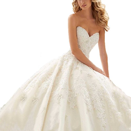 Yuxin Sweetheart Romantic Beaded Wedding Dresses for Bride 2018 Long Lace Ball Gown Bridal Dress Ivory ()