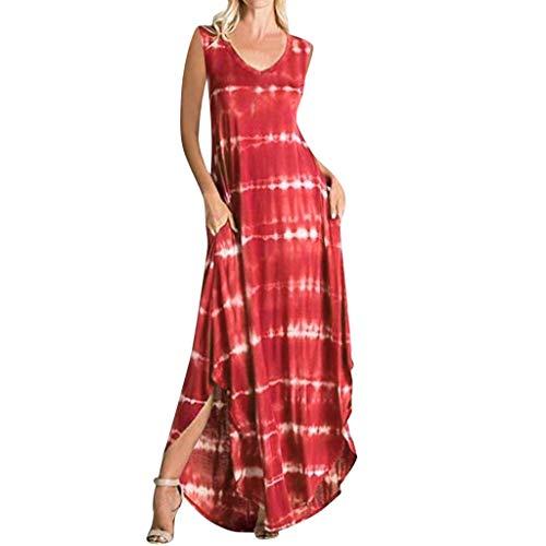 Jiuqing Women Maxi Dress Striped Long Dresses Casual Loose Kaftan Oversized Round Neck Sundress (Red, XXL)