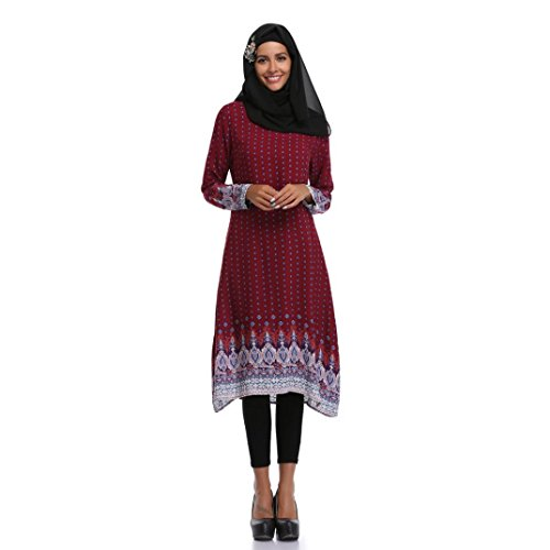 Muslim Dress SanCanSn Women Plus Size Middle East Long Dress Islamic Printing Long Sleeves(Wine ,L) by SanCanSn Dress