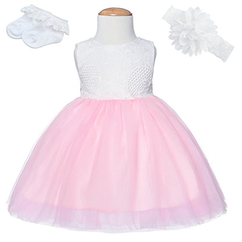 Party Chili Baby Girls Embroideries Baptism Dresses Christening Special Occasions with 3D Flower Headbands 12-18 Months(Pink 80cm)[A214] ()