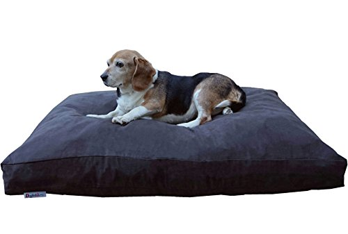 Dogbed4less Large Memory Foam Dog Bed Pillow with Orthopedic Comfort, Waterproof Liner and Espresso Microsuede Pet Bed Cover 41X27 Inches by Dogbed4less