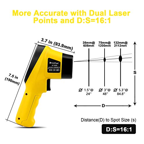 HOLDPEAK 985B Digital Infrared Thermometer Dual Laser Thermometer Non-Contact Temperature Gun -58℉~2480℉ (-50℃~1360℃) with Data Hold & Adjustable Emissivity for Forge Melting Furnace Kilns Industry by H HOLDPEAK (Image #2)