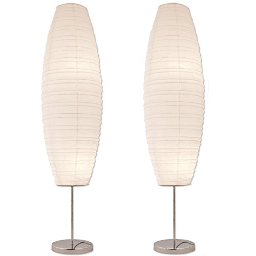 Asian Lamp Floor (Light Accents Diploma Chrome Floor Lamp Japanese Style Standing 50 Inches Tall with White Paper Shade (Set of 2))