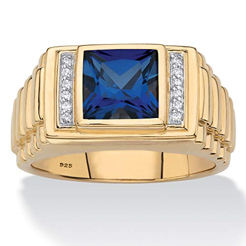Men's 18K Gold over Sterling Silver Simulated Blue Sapphire and Diamond Accent Ring Size 11 - Diamond Ring Blue Accent