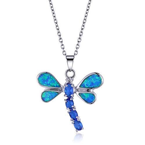 Blue Opal and Saphire Dragonfly in Sterling Silver