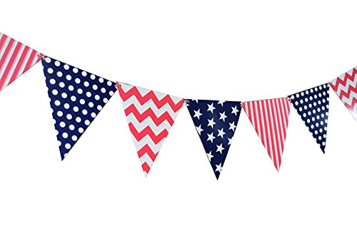 Quasimoon 12FGBUNT-4TH 4th of July Flag Pennant Banner, 11FT, Red, White, and ()