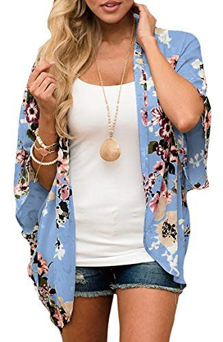 Kimono Top Floral (ECOWISH Womens Floral Print Loose Kimono Cardigan Beach Cover Up Blouse Tops D2007 Blue L)
