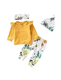 i-Auto Time Newborn Baby Girl Clothes Ruffle Tops+Floral Pants+Hat+Headband Outfit Set