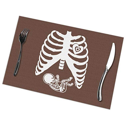 Placemats for Dining Table Set of 6 Skeleton Baby Wear-Resistant Heat-Resistant Kitchen Table Mats 18