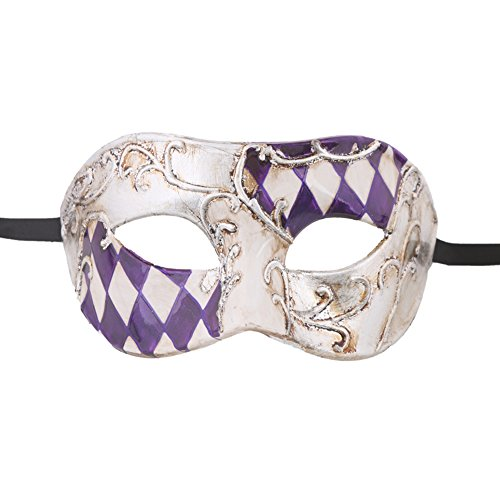 Xvevina Venetian Party Mask Men Mask (purple/silver checked) (Purple Masquerade Dresses)