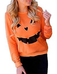 Women Halloween Pumpkin Face Print Long Sleeve Sweatshirt T Shirt Pullover Tops