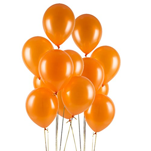 MOWO Orange Latex Balloon,Premium Pearl Party Balloon,12 inch,3.2g (Orange,100 (Orange Metallic Balloons)