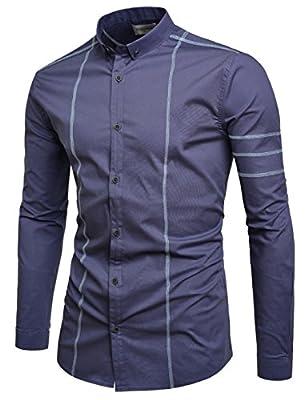 NEARKIN Short Collar Stitch Design Stretchy Dress Shirts For Men