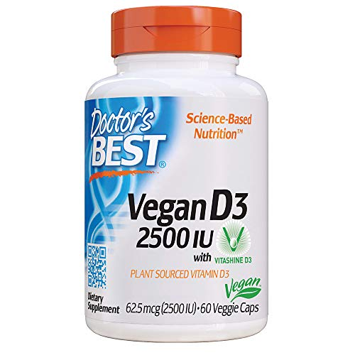 Doctor's Best Vitamin D3 2500IU with Vitashine D3, Non-GMO, Vegan, Gluten Free, Soy Free, Regulates Immune Function, Supports Healthy Bones, 60 Veggie Caps (Best Vitamin D Supplement Uk)