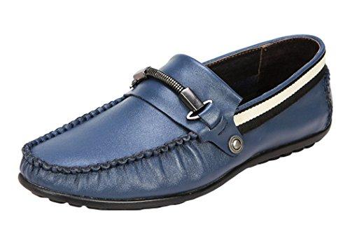 Serene Mens Breathe Stylish Moccasin Buckle Slip On Casual Loafer(7.5 D(M)US, Blue)