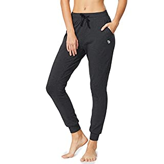 BALEAF Women's Active Yoga Sweatpants Workout Joggers Pants Cotton Lounge Sweat Running Pants with Pockets Charcoal Size L
