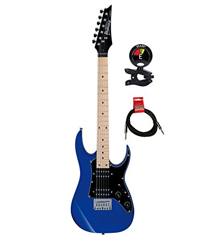 Ibanez Grgm21 Rg Mikro 6 String Solidbody Electric Guitar With Poplar Body And 2 Humbucking Pickups Package With Clip On Guitar Tuner And Instrument Cable  Jewel Blue