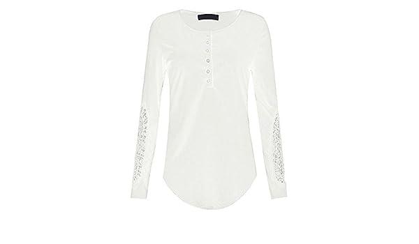 Niña otoño fashion fiesta,Sonnena ❤ Camisa de manga larga para mujer Blusa de encaje casual de moda Camiseta floja de las tapas de algodón: Amazon.es: ...