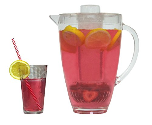 2-Liter-Clear-Acrylic-Pitcher-with-Ice-Chamber-and-Fruit-Infuser--Perfect-Beverage-Dispenser-for-Water-Juice-Iced-Tea-and-Hot-Drinks--Shatterproof-Plastic-Jug-with-Handle-and-100-BPA-Free