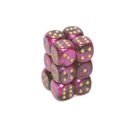 Chessex Dice d6 Sets: Gemini Black & Purple with Gold - 16mm Six Sided Die (12) Block of Dice ()
