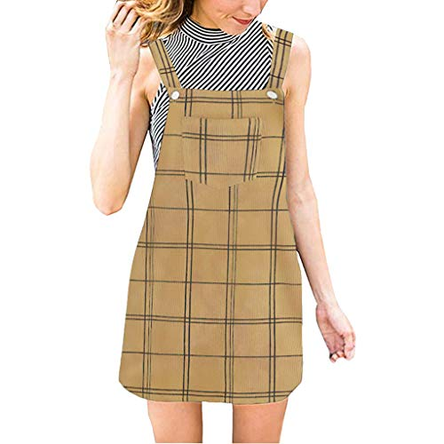 Women's Casual Plaid Suspender Skirt Corduroy Pinafore Mini Bib Overall Dress with Pocket (M, Yellow) ()