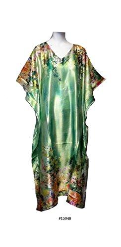 Damen 100% Polyester Woven Printed Silky Satin Long Kaftan. One Size Fit UK 10-32