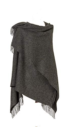 Womens Charcoal Grey Lambswool - Moon Wool Ruana, Merino Lambswool, Plain Grey, Made in UK