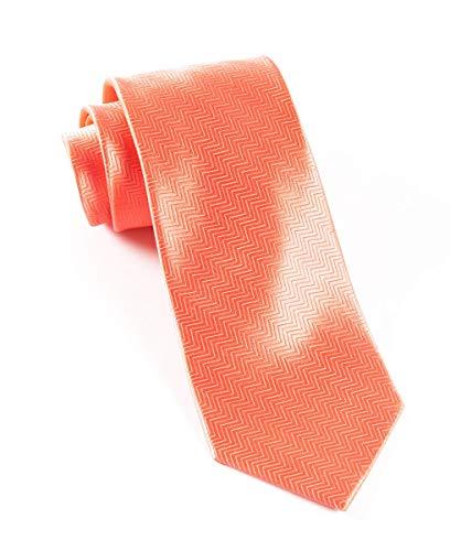 The Tie Bar 100% Woven Silk Solid Herringbone Coral Tie