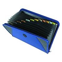 C-Line 48105 archivo desplegable con cierre de cremallera, 13 bolsillos, divisores con pestañas, azul