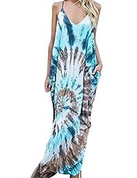 NANYUAYAKY Summer Boho Women V Neck Casual Beach Backless Long Dress