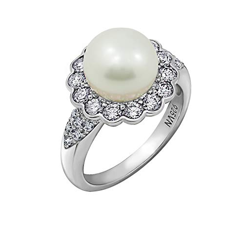 J'ADMIRE 1.23 carats Cubic Zirconia Freshwater Flower Pearl Ring Size 7, Platinum Plated Sterling Silver