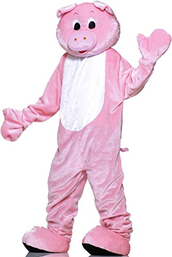 Adult Deluxe Pig Mask (Forum Deluxe Plush Pig Mascot Costume, Pink, One Size)