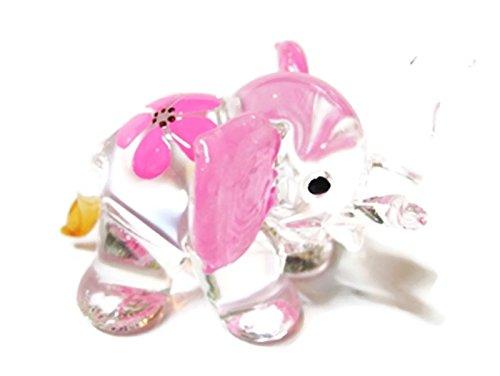 - ChangThai Design Dollhouse Miniatures Hand Blown Art Pink Elephant Flower FIGURINE Animals Decor