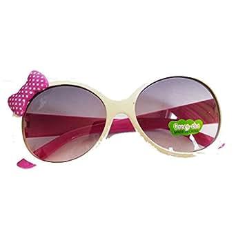 Amazon.com: Girls White Sunglasses w/ Pink Dot Bow and