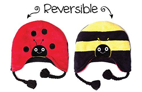 FlapJackKids - Kids' Winter Hat - Ladybug/Bumble Bee Youth (3-8 yrs) (Bumble Cap Bee Toddler)