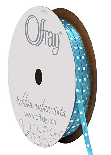 Offray 1/8-Inch x 15-Feet, Island Blue Double Face Satin Mini Dot Craft Ribbon, 1/8 Inch ()