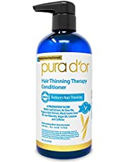 PURA D'OR Hair Thinning Therapy Conditioner - Strengthening, Clarifying & Moisturizing Cleanser - For Fuller Volume, Added Moisture, And Softer Hair, Men & Women, 16 Fl Oz (Packaging may vary)