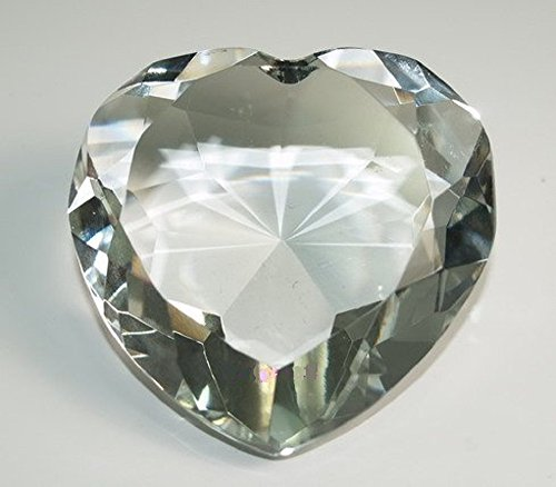 Diamond Jewel Paperweight 80mm Clear Heart Shaped Cut by Speedy Checkout