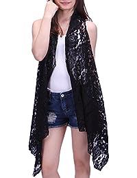 Womens Open Front Lace Cardigan Sleeveless Asymmetric Drape Hem Vest Coverup