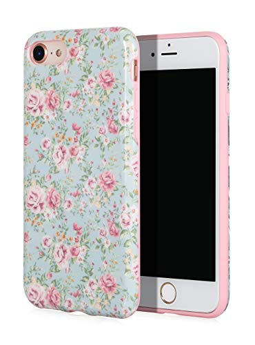 SunshineCases【Vintage Pink Floral】 Flexible, Thin, Non-Slip Case Design【Compatible: Apple iPhone 8 & iPhone 7】