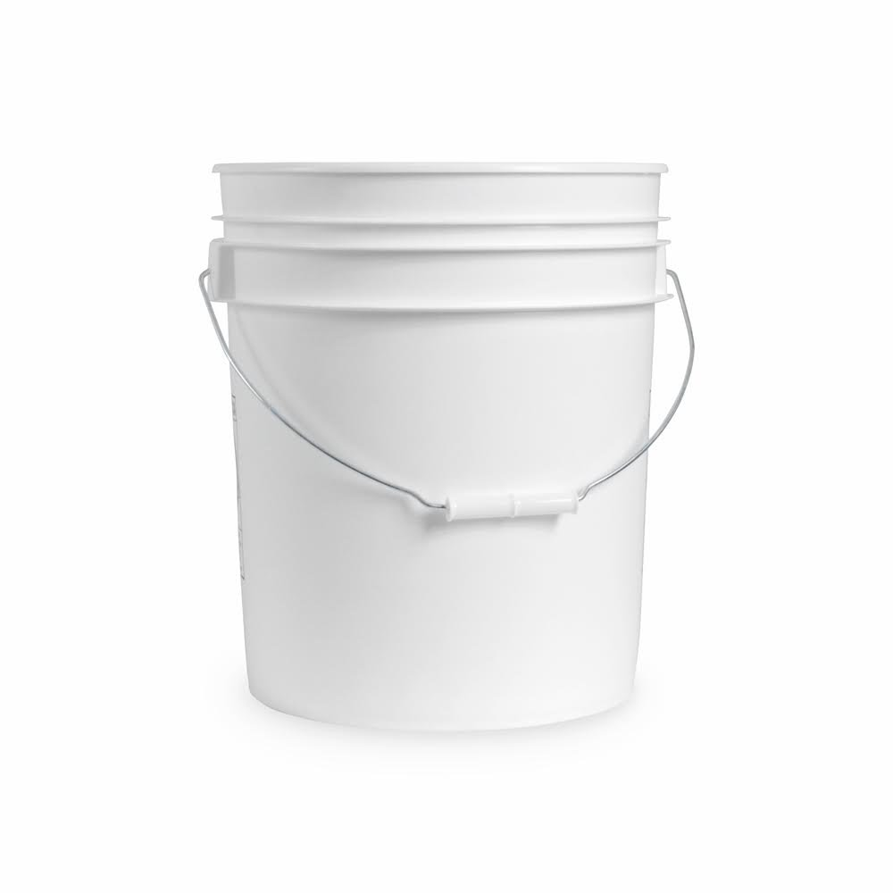 5 Gallon White Bucket Only - Durable 90 Mil All Purpose Pail - Food Grade Buckets NO LIDS INCLUDED - Contains No BPA Plastic (Pack of 10)