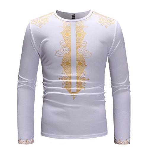 Turtleneck Interlock Cotton Print (Koolsants Men Long Sleeve African Dashiki Print Shirt Blouse for Autumn Winter Traditional Ethnic White)