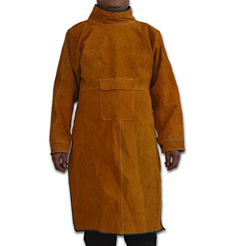 Genuine Cowhide Leather Welding Jacket, Heavy Duty Fire Resistant Welding Apron,Safety Workshop Protection Welding Cloth, Long Anti-Scald Flame Resistant Welding Coat Suit for Welder,Men,Women