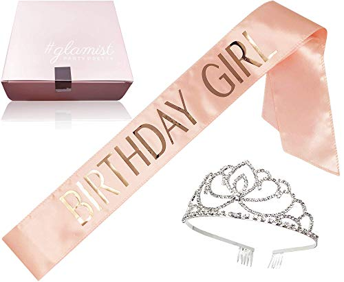 #glamist Birthday Girl Blush Pink Sash with RoseGloss Print and Platinum Rhinestone Tiara - Perfect for The Big Celebration on Your Bday!]()