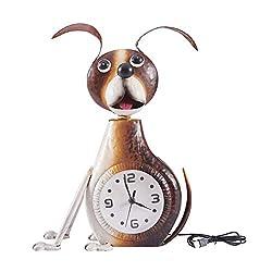 Kircust Metal Dog Desk Clock Handmade Vintage Figurine Decorative Table Animal Clock with Lighting