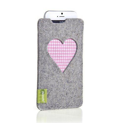ALMWILD® Hülle, Tasche für Apple iPhone 7,6s MIT Apple Leder Case / Silikon Case aus Filz. In Alpstein- Grau mit Herz. Handyhülle Handytasche in Bayern handgefertigt.
