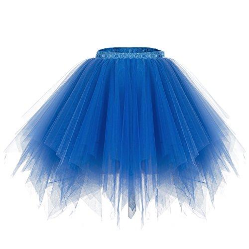 Bridesmay Ballet Tutu Jupon Jupe en Tulle dguisement annes 50 Rockabilly Bleu Saphir